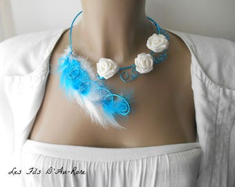 """Turquoise & white feathers and white with pink """"GLADYSE"""" necklace"""