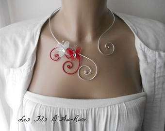 Adult LYLA necklace with red & White Butterfly