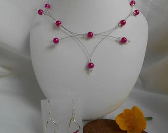 Set 2 pieces PERLICA with fuchsia Earrings and necklace