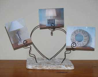 Display Photos metal and Driftwood original and cheap gift for Valentine's Day heart
