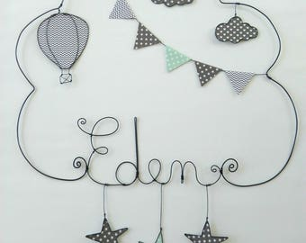 """Initials personalized wire,""Hot air balloon with stars""model 50 * 50 CM"""