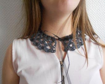 charcoal gray crochet lace Peter Pan