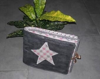 Album photo enfant tissu moelleux gris rose anthracite // livre photo tissu enfant bébé matelassé avec appliqué étoile rose gris anthracite