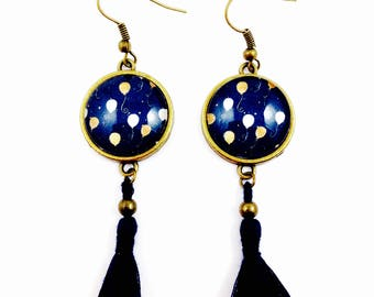 Bronze earrings * cabochon * gold balloons * blue tassel