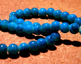 50 beads speckled marble glass - 6 mm - turquoise - PF72