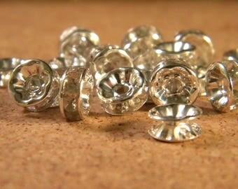 20 pearls rhinestones Grade B - spacer, 8 mm transparent - SS13