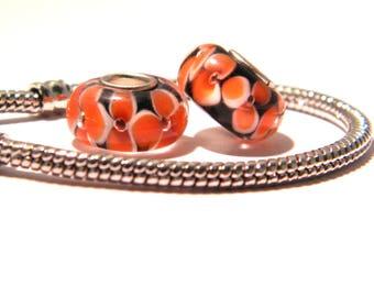 orange bead charm European bead - 14 x 8 mm - murano glass European - K86