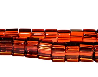 translucent glass - 8 mm-chocolate-PG139 cube 20 beads