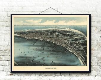 Provincetown Massachusetts 1910 Bird's Eye View Map Fine Art Print