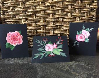 SET OF 3 Hand Painted Pink Floral Greeting Cards