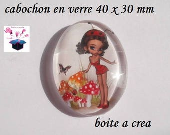 1 number 2 63633 40x30mm glass cabochon