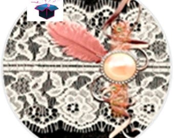 1 cabochon clear 25 mm theme lace