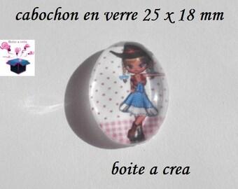 1 cabochon glass 25mm x 18mm demoiz it country