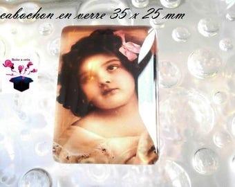 1 glass cabochon size 35 x 25 mm vintage theme
