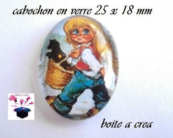1 cabochon glass 25mm x 18mm number 16