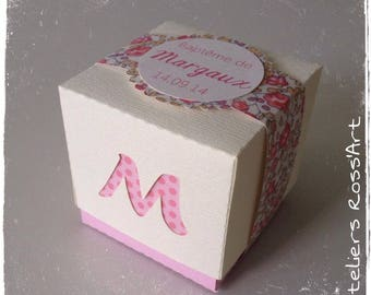 Two-tone pink floral and vanilla custom hole cube box