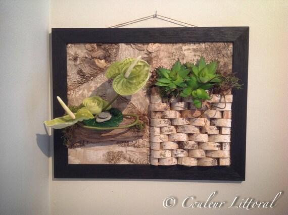 cadre v g tal mural bois flott bouleau. Black Bedroom Furniture Sets. Home Design Ideas