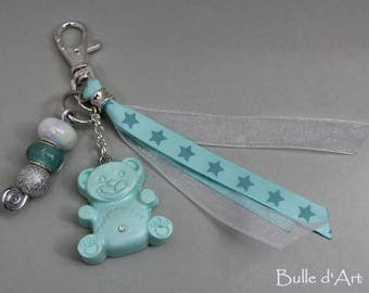 Bag charm or Keychain collection bears turquoise bear