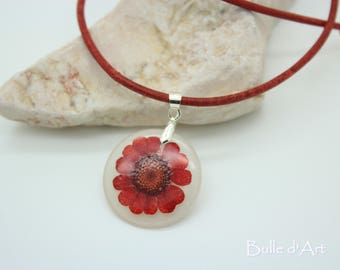 """Red Daisy"" resin pendant necklace"