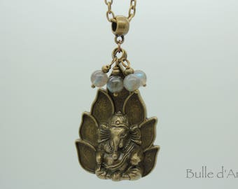 Ganesh necklace * elephant * Buddha * and Labradorite stones, Tibetan style