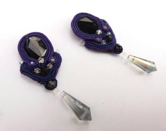 Handmade Long Soutache Earrings Swarovski Dark Magic free shipping