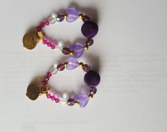 Pink and purple beads and gold clip earrings