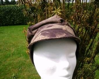 Brown beige velvet ribbed Hat