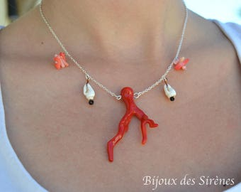 Navy necklace red resin coral branch