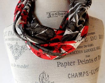 Cowl Infinity Scarf Rayon Knit in Red, Gray and White Large Floral Print Triple Loop