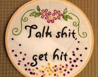 Snarky hand embroidery art