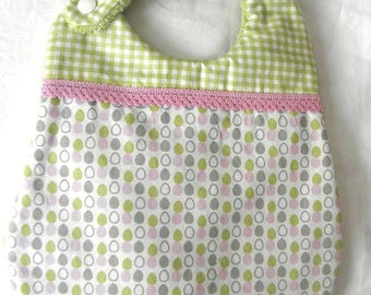 Cotton fabric bib with eggs, gingham, and sponge for babies from birth to 12 months and up