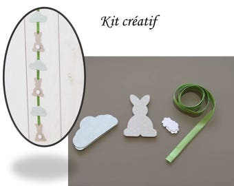 KIT for making Garland rabbits clouds for kid's room