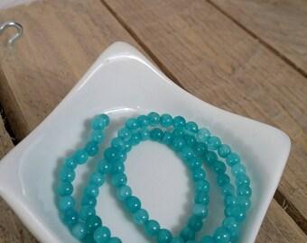 Assortment of 20 blue green amazonite beads 4mm round
