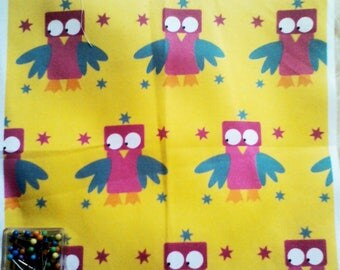 creation of printed fabric with owls pattern