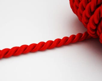 Twisted cord satin 7 mm, red, 1 m, marine style