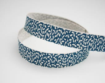 Ribbon leaves off-white, blue, 15 mm, 1 m printed natural cotton Ribbon