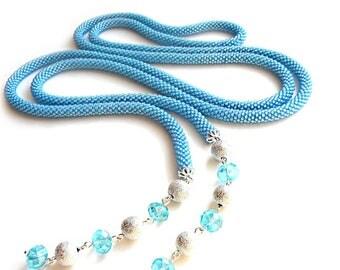 Long Light blue Lariat from Czech beads  Gentle soft lariat