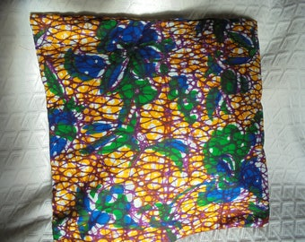 African style WAX certified Burgundy, yellow, blue and green canvas pillow cover.