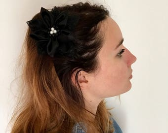 Satin fabric and lace flower hair clip