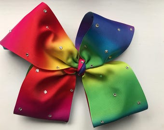 CamisCottonCandy Rainbow Swarovski Giant Bow 75mm/ 3inch wide