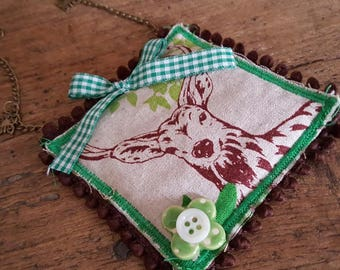 "Textile necklace ""the call of the deer"""