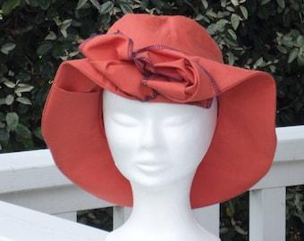 chapeau de soleil d'été femme orange rouille créateur lin'eva