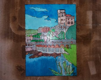 Picture Pirografato and hand painted. On wood. Genoa