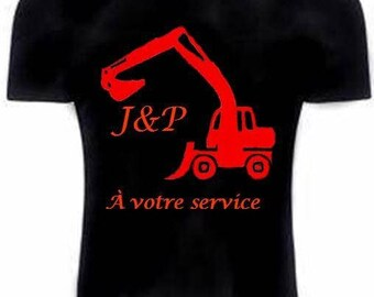 Black T-shirt with transfer backhoe