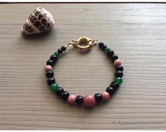 Rhodonite and jade frida Kahlo bracelet