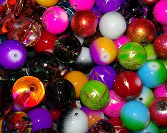 100 glass beads mixed multicolored 6/8/10/12 mm beads, mix of beautiful beads set