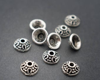 10pcs - small bead caps cones Hat • silver • 6mm
