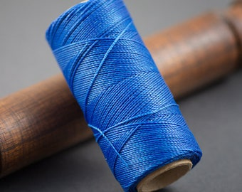 5 yards - wire 0.7 mm Denim Blue waxed polyester cord