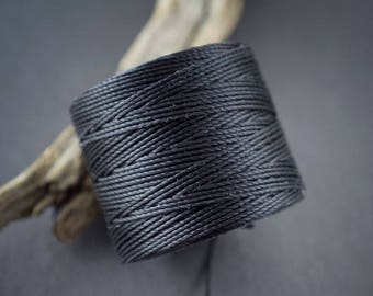 5 yards - cord, twisted nylon fine • black • 0.6 mm wire