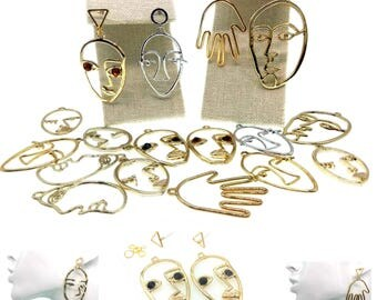 Earrings Abstract face modernist earring base stud Jewelry Making DIY Charms for necklaces choker face Earrings Stud  Earring Findings